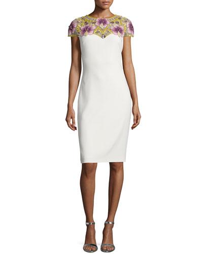 Beaded-Yoke Sheath Dress, Ivory