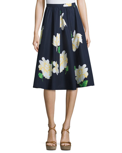 Floral-Print Dirndl Skirt, Indigo/White