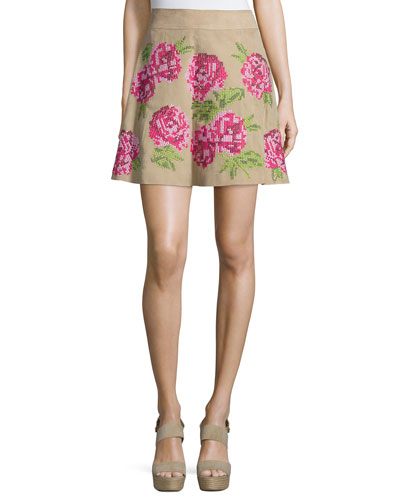 Floral Embroidered Flirt Skirt, Sand