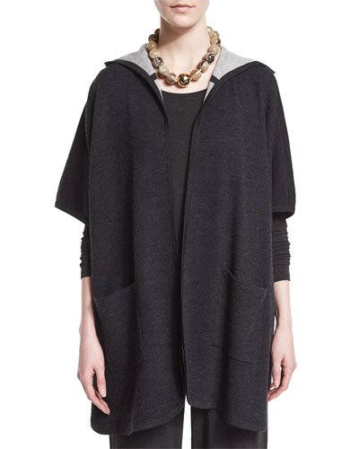 Hooded Double-Knit Poncho