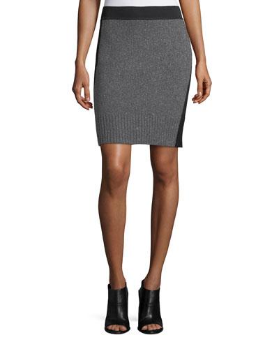 Nina Two-Tone Pencil Skirt, Charcoal