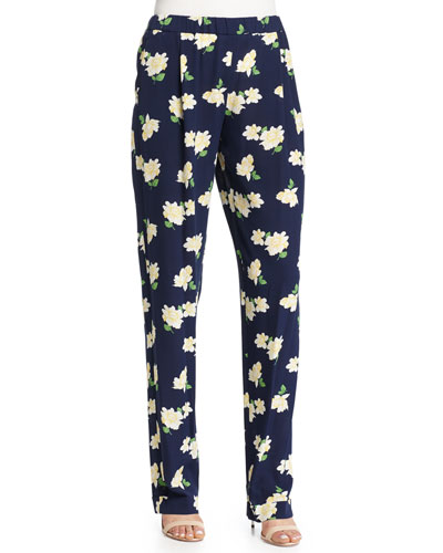 Floral-Print Pajama-Style Pants