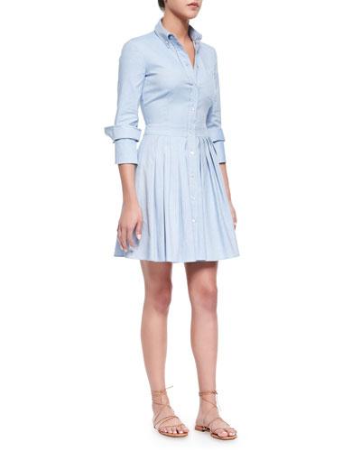 Oxford Double-Cuff Shirtdress, Sky Blue