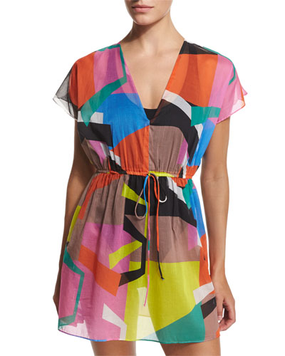 Mauritius Printed V-Neck Coverup Tunic/Dress