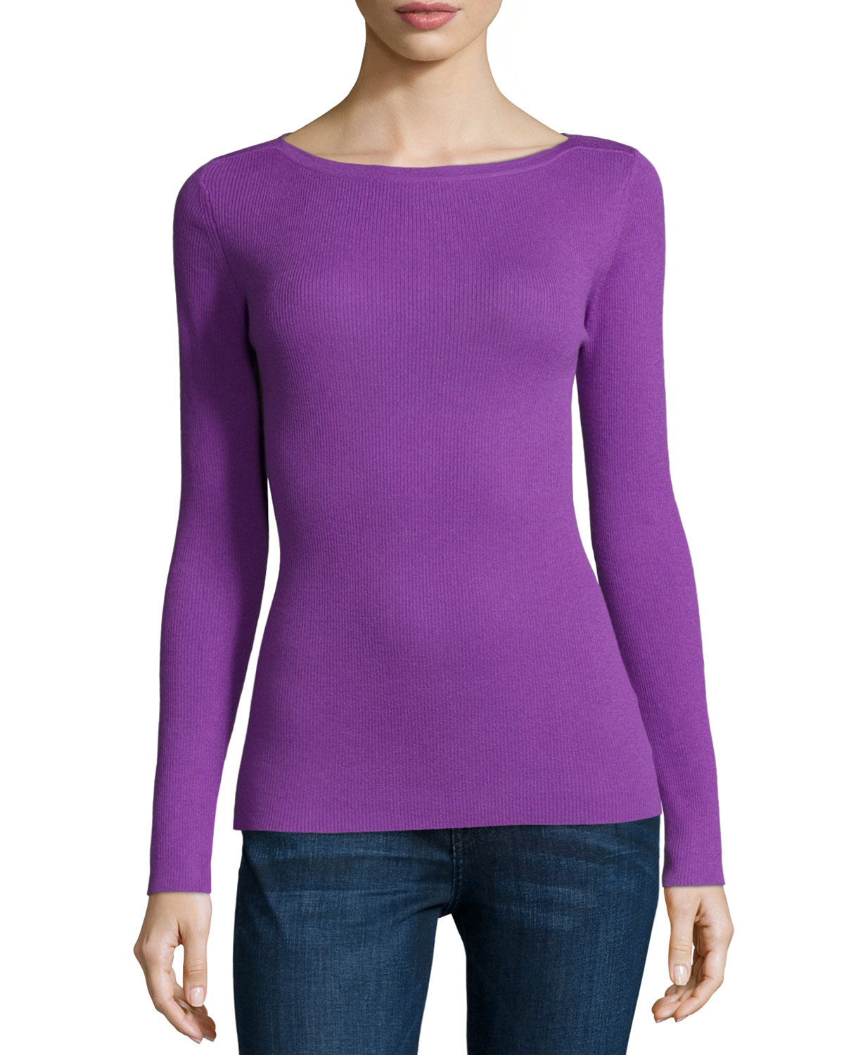 Long-Sleeve Cashmere Top, Lilac