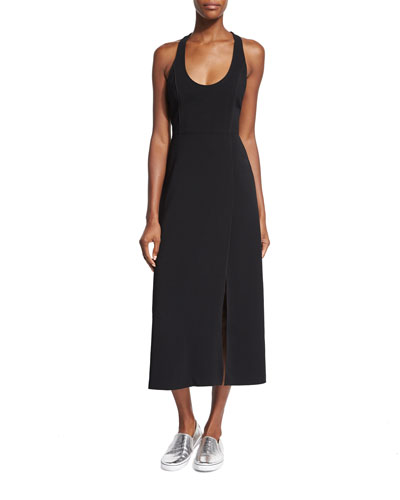 Leesa Scuba Tie-Back Dress, Black