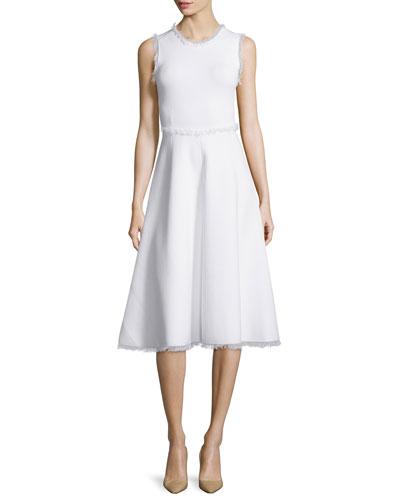 Theresa A-Line Fringe Dress, Snow