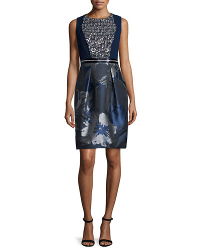 Embellished Floral-Print Cocktail Dress, Midnight