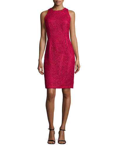 Sleeveless Lace Sheath Dress, Crimson