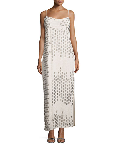 Ombre Embellished-Striped Gown, White