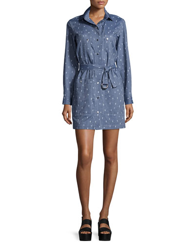 Long-Sleeve Embroidered Shirtdress, Working Blue