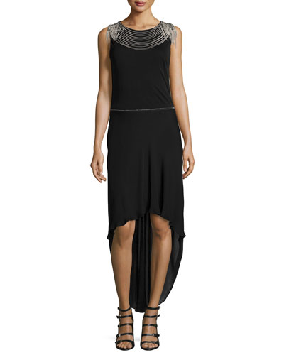 High-Low Gown W/Removable Skirt, Black