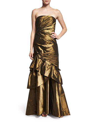Strapless Ruched Evening Gown W/Shawl, Burnished Gold