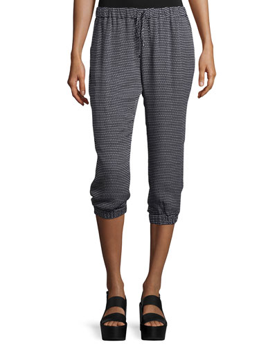 Drawstring-Waist Cropped Jogger Pants, Black/Swan