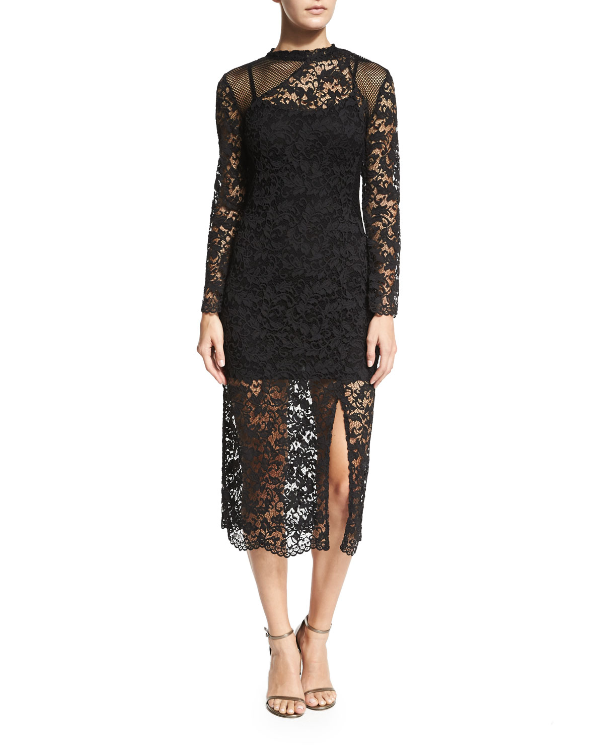 Tilly Long-Sleeve Lace Dress, Black