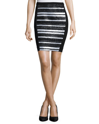 Embellished-Front Pencil Skirt, Black
