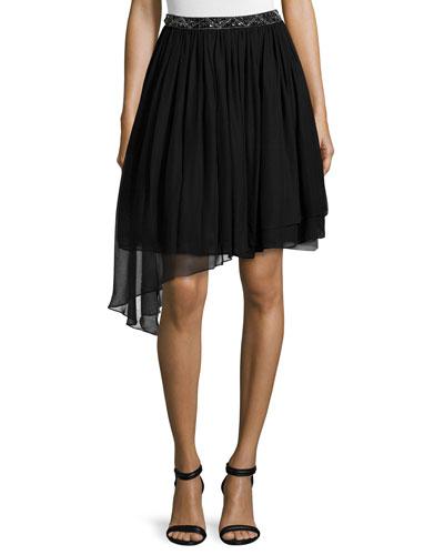 Embellished-Waist Tutu Skirt, Black