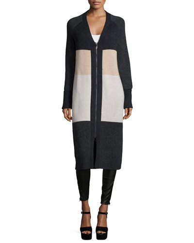 Long Zip-Front Colorblock Cardigan