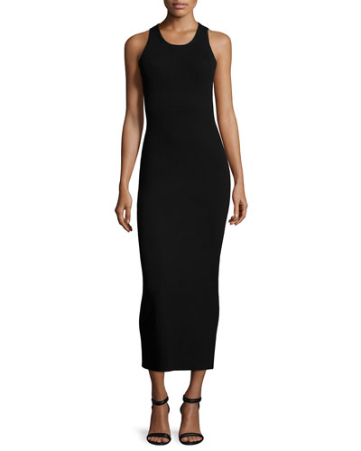 Sleeveless Maxi Sweater Dress, Black