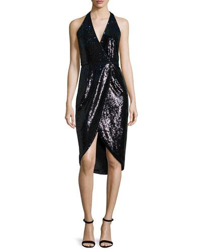 Embellished Faux-Wrap Dress, Black/Bright Indigo