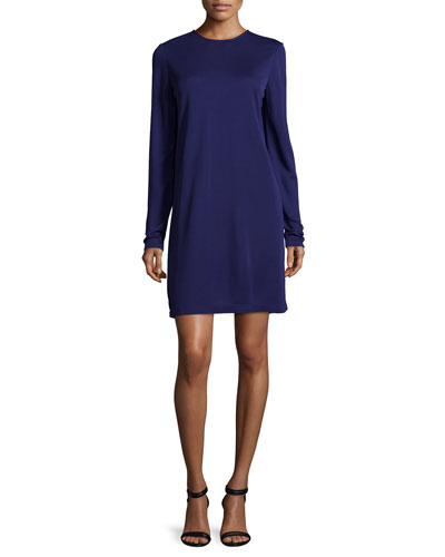 Long-Sleeve Shift Dress, Aubergine