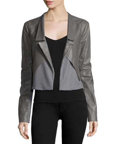 Long-Sleeve Open-Front Combo Jacket, Charcoal