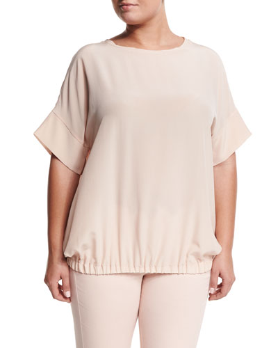 Baciato Crepe Short-Sleeve Shirt, Plus Size