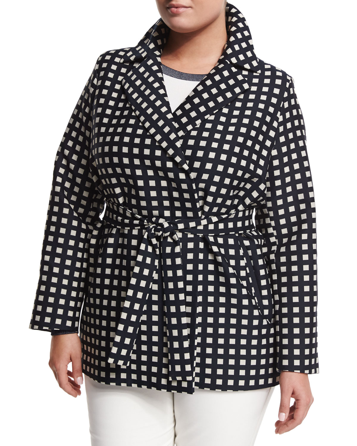 Tea Geometric-Print Raincoat, Plus Size
