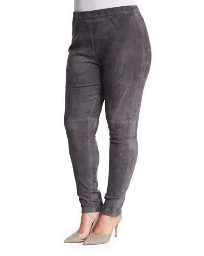 Egregio Suede Skinny Pants, Plus Size