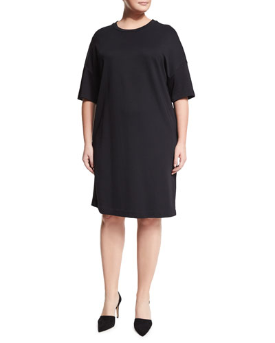 Ombra Half-Sleeve Jersey Dress, Plus Size