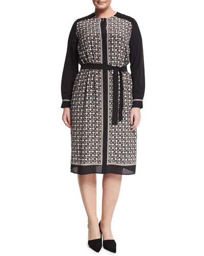 Damiere Belted Geometric-Print Dress, Plus Size