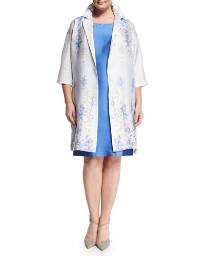 Tebe Floral-Print Long Coat, Plus Size