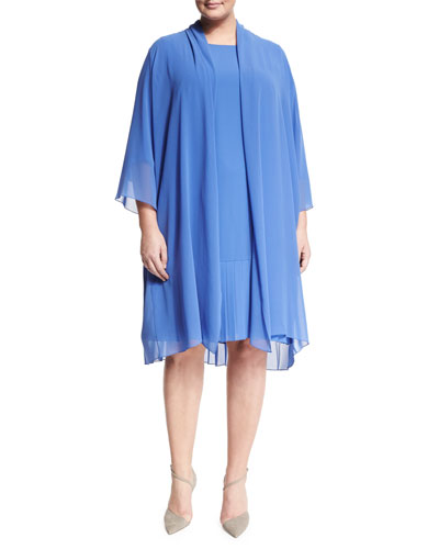 Tempo Long Pleated Coat, Plus Size