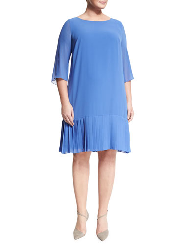 Dolina 3/4-Sleeve Pleated-Hem Dress, Plus Size
