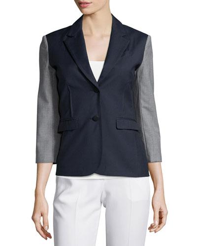 Square-Front Sport Blazer, Navy/Gray