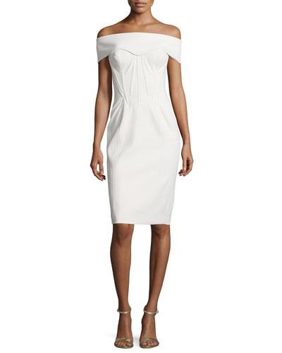 Off-The-Shoulder Corset Sheath Dress, Papyrus