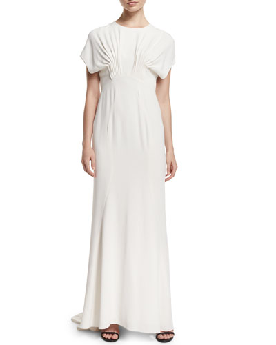 Short-Sleeve Pintuck Gown, Magnolia