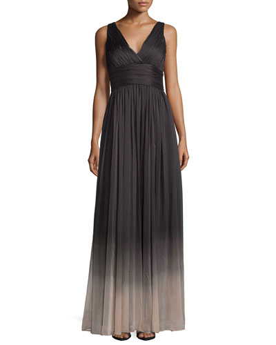 Sleeveless V-Neck Ombre Gown, Charcoal/Nude