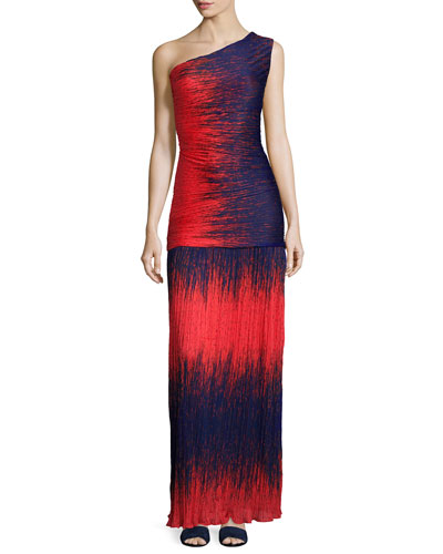 One-Shoulder Ombre Gown, Fire Wind Print