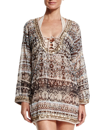 Printed Georgette Embroidered Caftan Coverup
