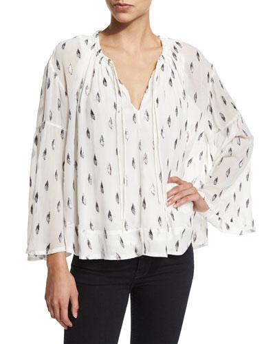 Naomie Metallic Silk Peasant Top, White/Silver