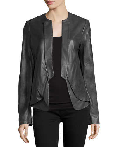 Open-Front Leather Jacket, Charcoal