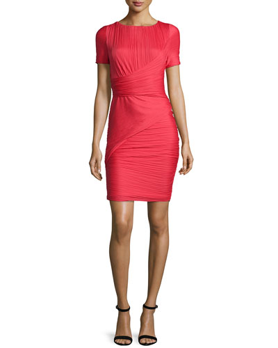 Short-Sleeve Bandage Cocktail Dress, Vermillion
