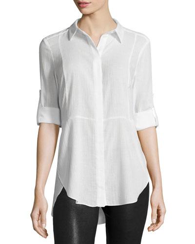 Long-Sleeve Button-Front Shirt, Linen White