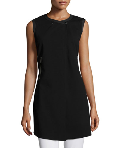 Snap-Front Sleeveless Vest, Black