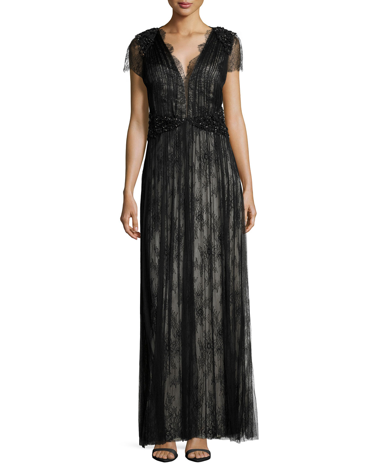 Short-Sleeve Lace Gown, Black/Champagne