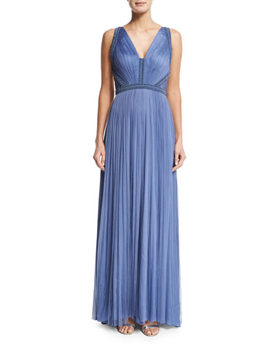 French Silk Tulle Gown with Strappy Back