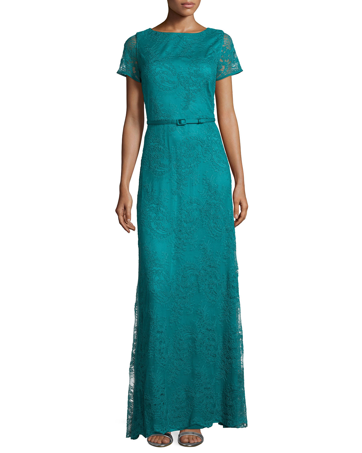 Short-Sleeve Belted Lace Gown, Jade Green