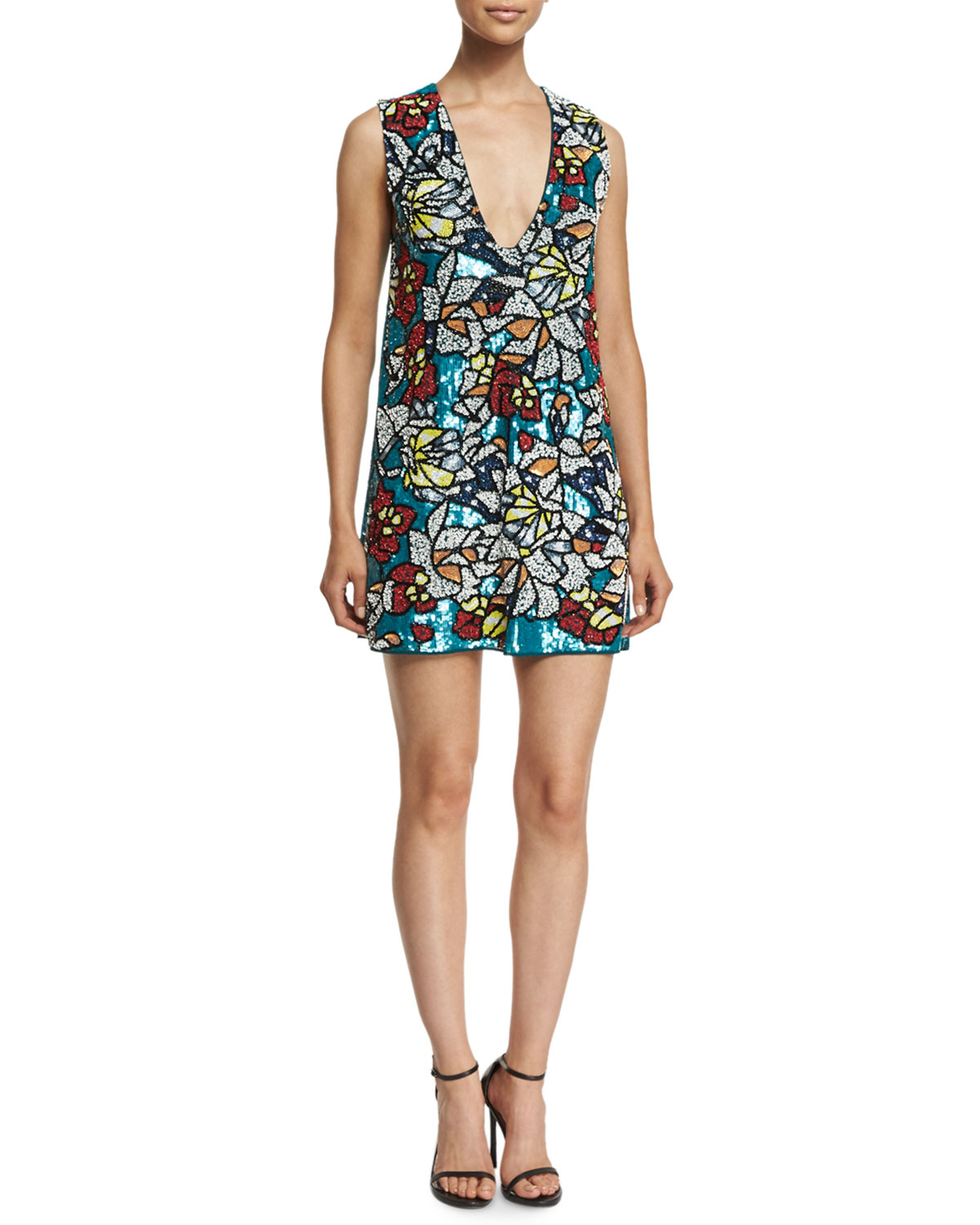 Odell Sleeveless Floral Sequin Dress, Multicolor