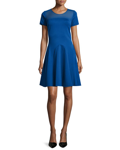 Short-Sleeve Mesh-Yoke Dress, Marine